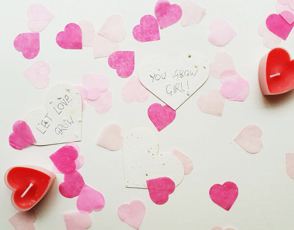 3 seed hearts with candles and pink confetti