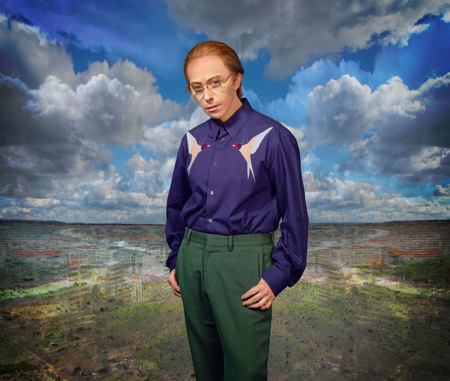 Cindy Sherman dressed as male feminine male playing on Identity, Androgyny and masculinity.