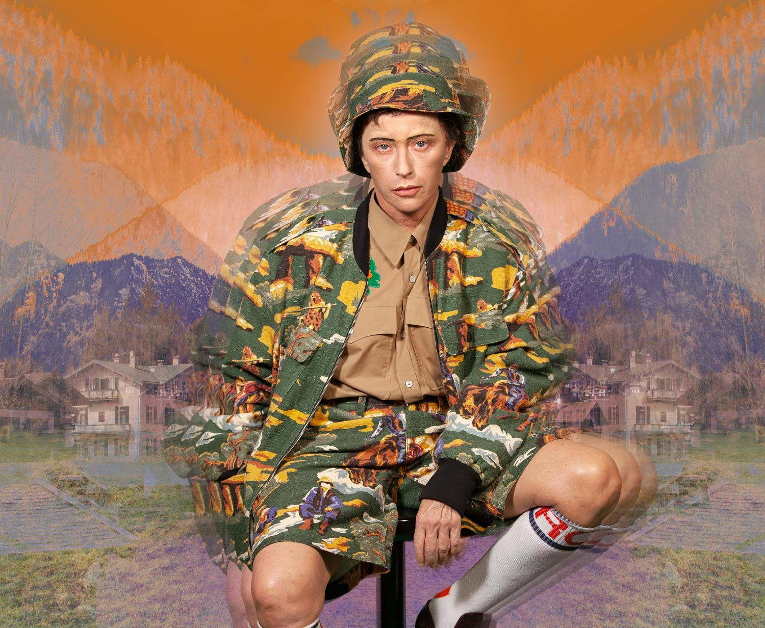 Cindy Sherman dressed as male feminine army cadet playing on Identity, Androgyny and masculinity.
