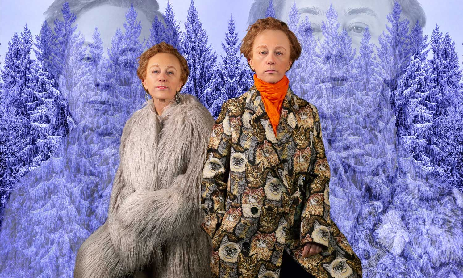 Cindy Sherman dressed as man and woman in fur coats, in front of snow topped trees in a blue hue playing on Identity, Androgyny and masculinity.