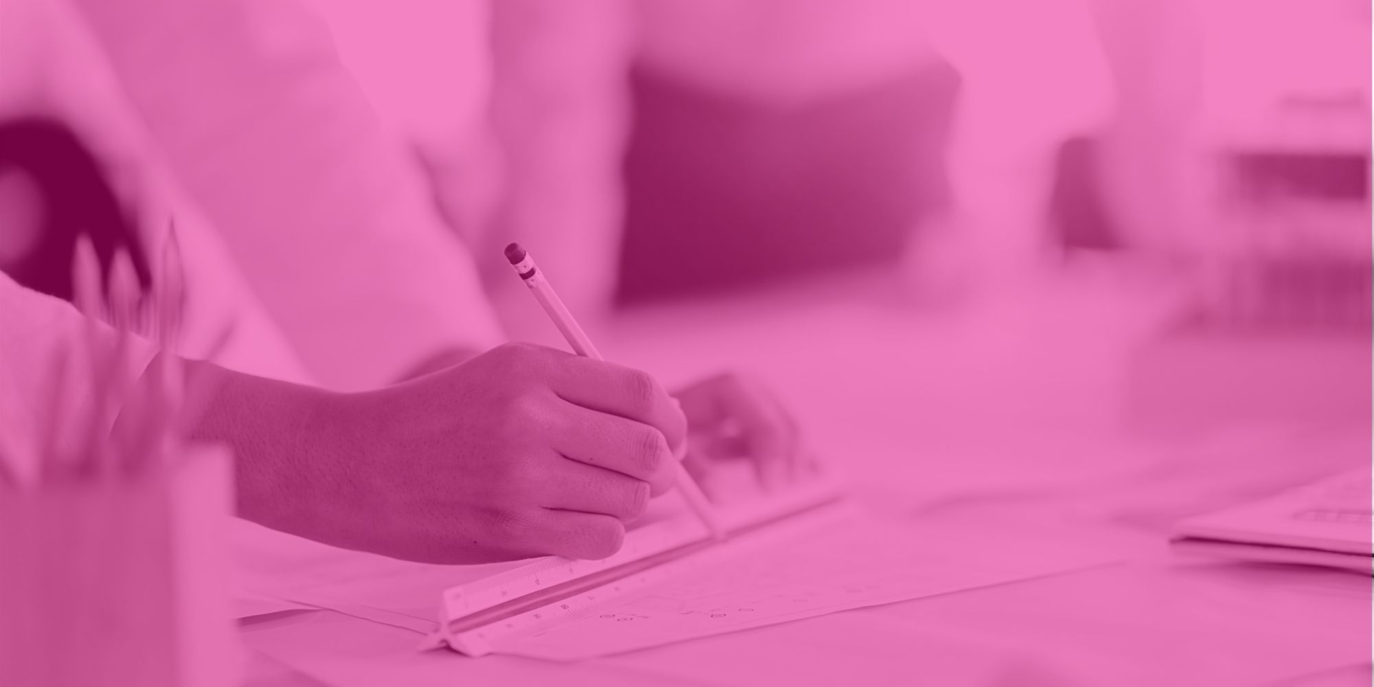 See what our bootcampers do, image of someone white holding a pencil working. Pink overlay