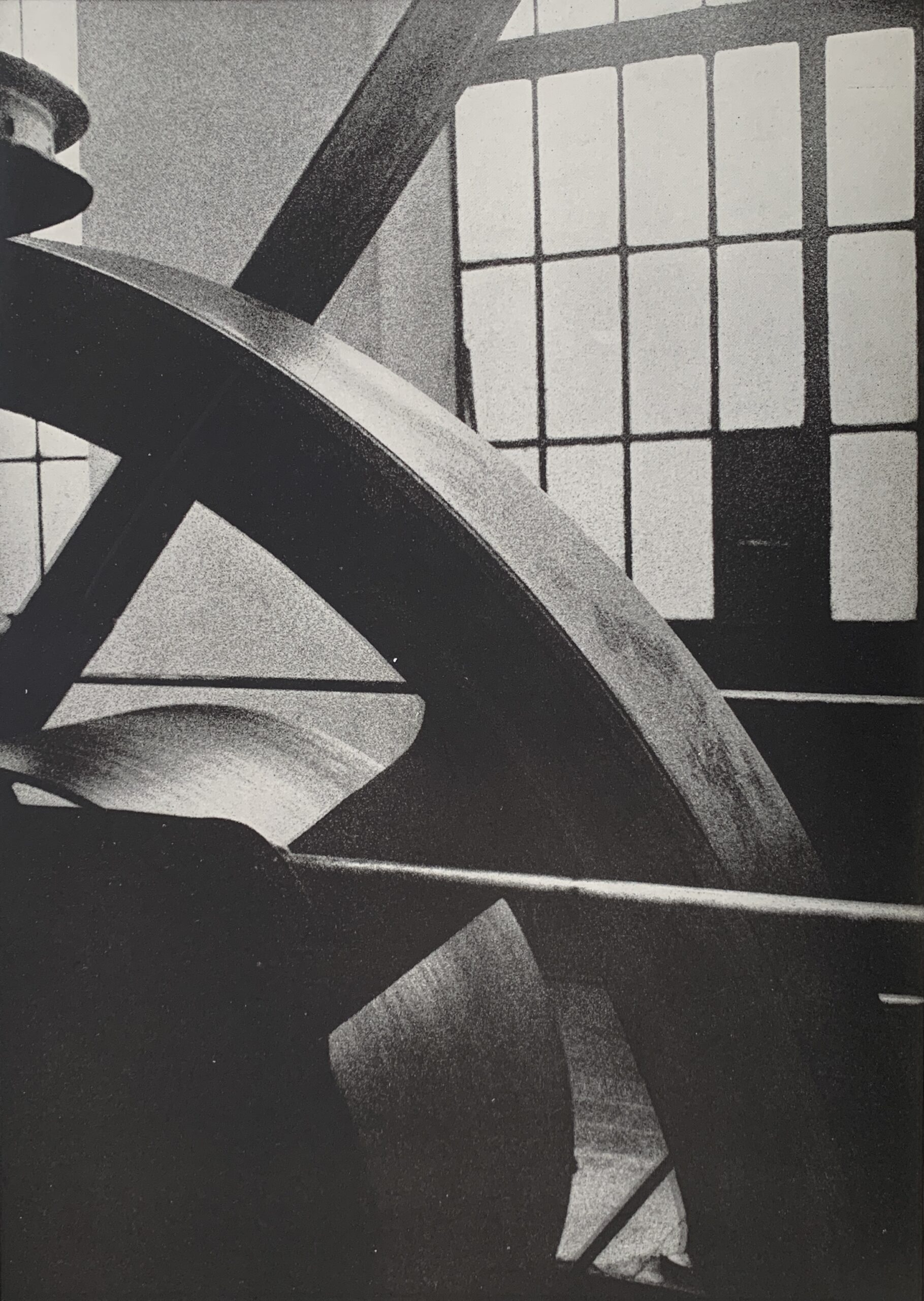 The Pictorialist photobook by Betti Mautner. Published 1931. Image courtesy of James Hyman. A big machine mechanism is in black and white.