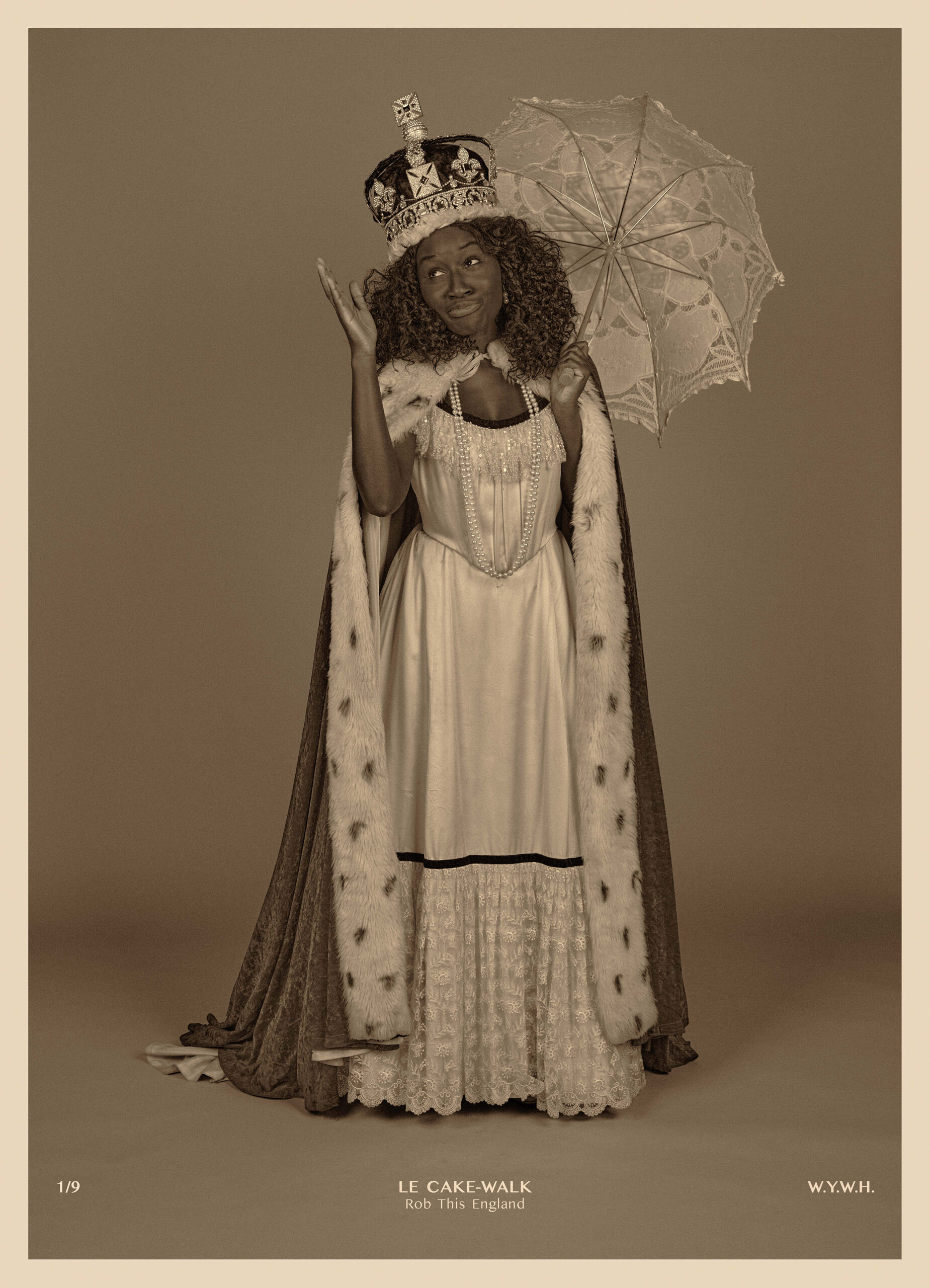 From the exhibition A Pciture of Health, Heather Agyepong is dressed in a white dress and a royal cape and crown holding a white parasol.