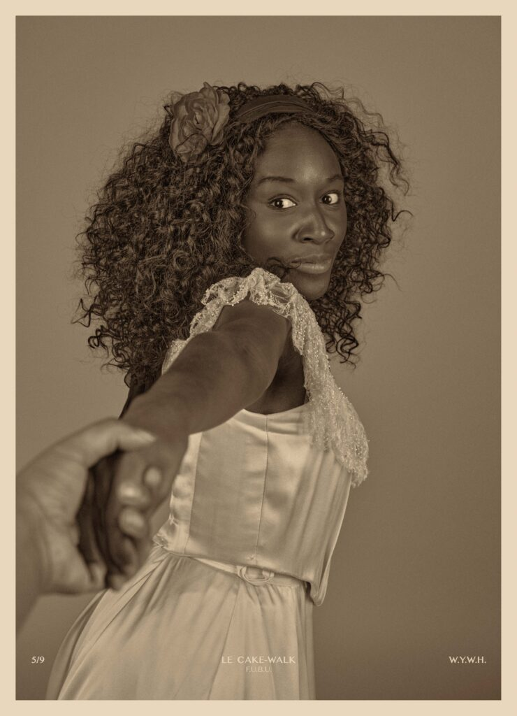Interview image: From the exhibition A Pciture of Health, Heather Agyepong is dressed in a white dress holding hands with someone behind the camera, the image is sepia toned.