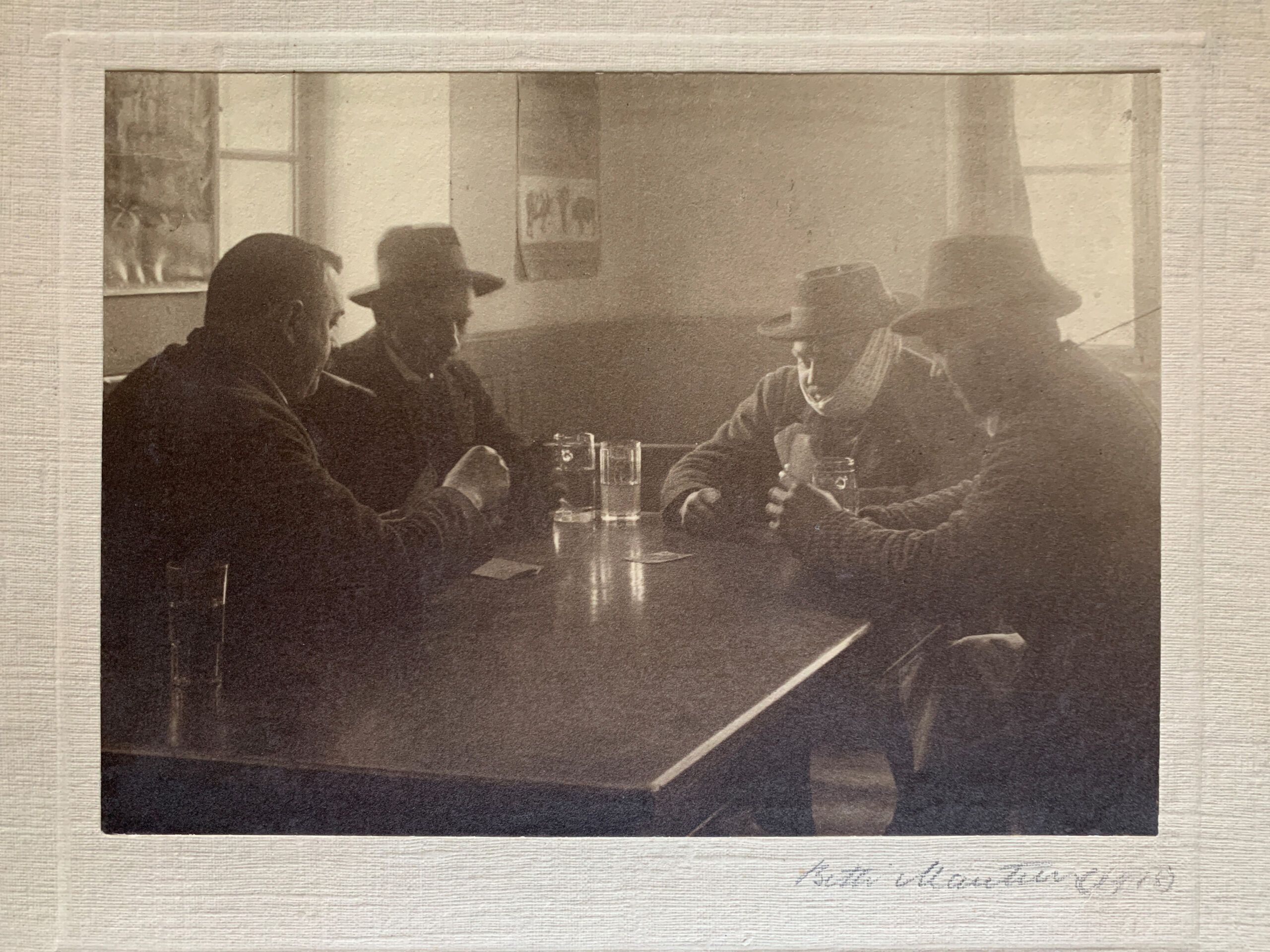 The Card Players, 1918 by Betti Mautner © James Hyman. Men are seen playing cards at a table