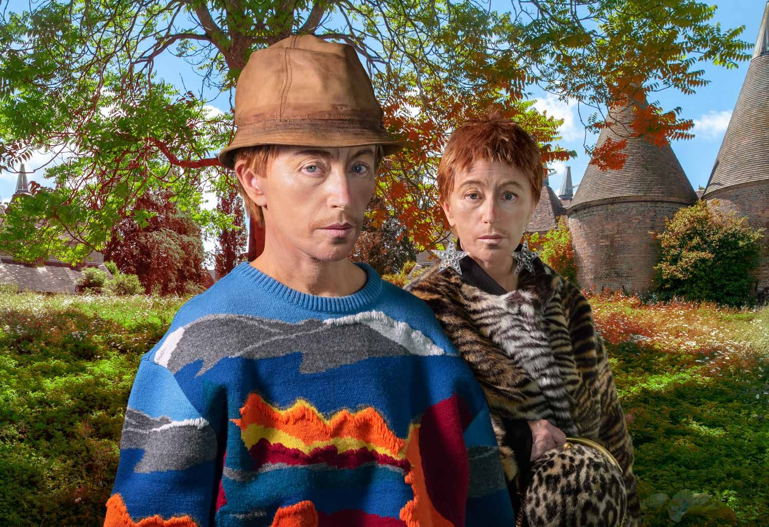 Cindy Sherman dressed as man and woman in fur coats, in front of a green farm-like area playing on Identity, Androgyny and masculinity.