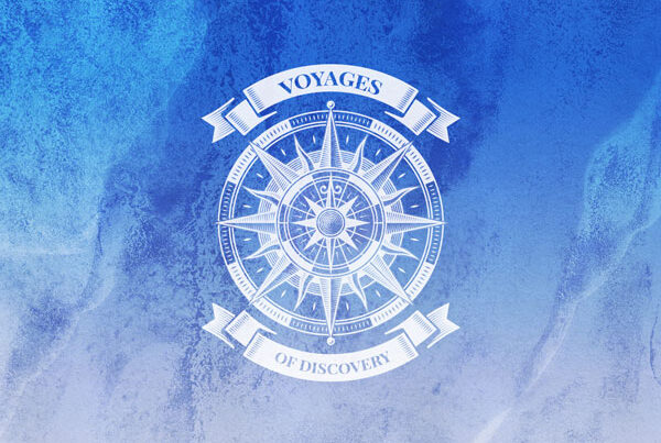 Voyages of Discovery Icon in blue, icon is a compass on a blue background