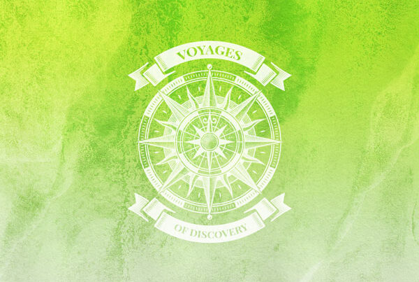 Voyages of Discovery Icon in green, icon is a compass on a green background