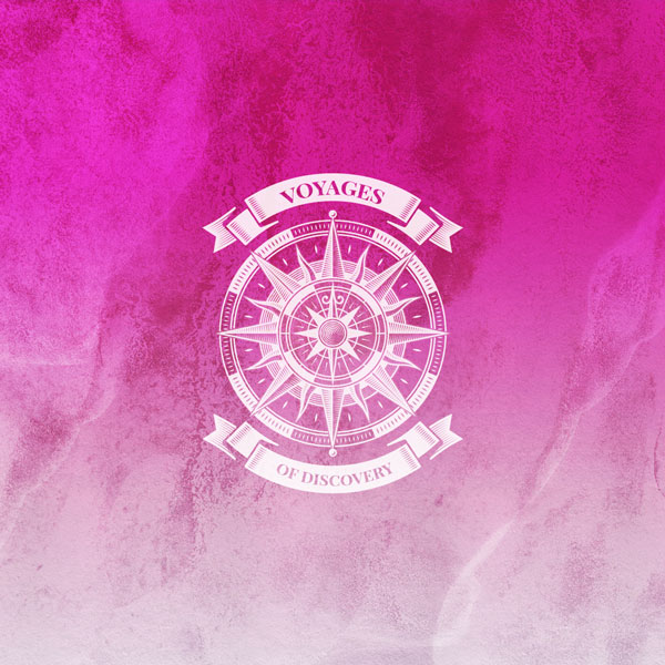 Voyages of Discovery Icon in pink, icon is a compass on a pink background
