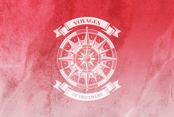 Gender Equality: Voyages of Discovery Icon in red, icon is a compass on a red background