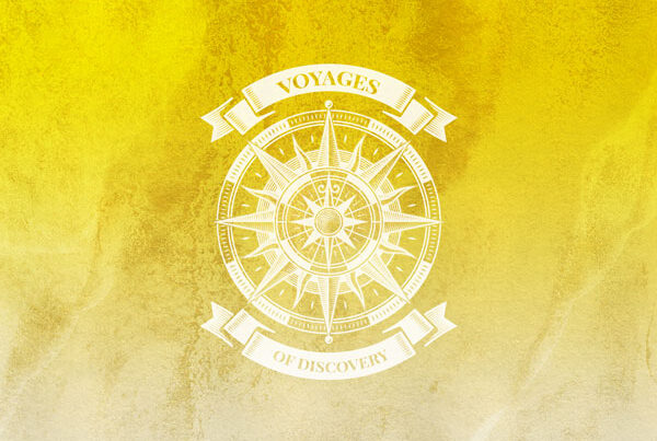 Voyages of Discovery Icon in yellow, icon is a compass on a yellow background